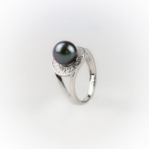 Bague or gris 18k perle de...