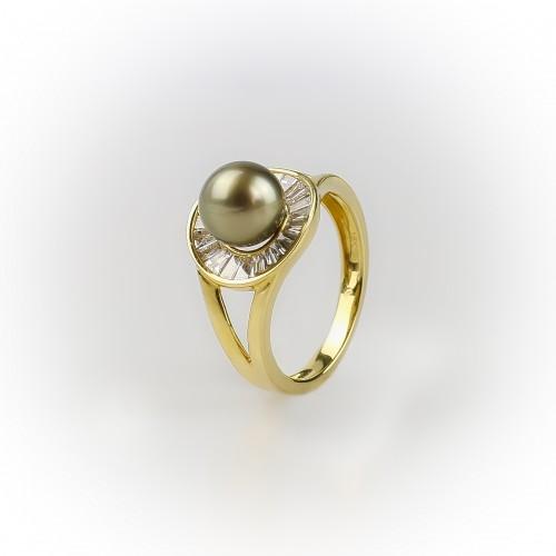 Bague or jaune 18k perle de...
