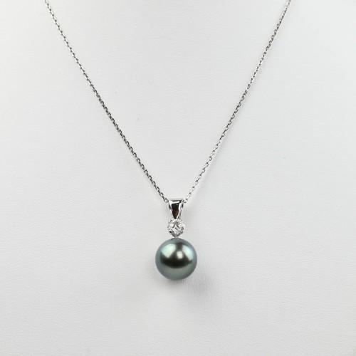 Pendentif diamant et perle...