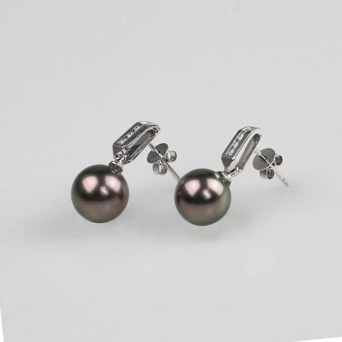 18K white gold earrings set...