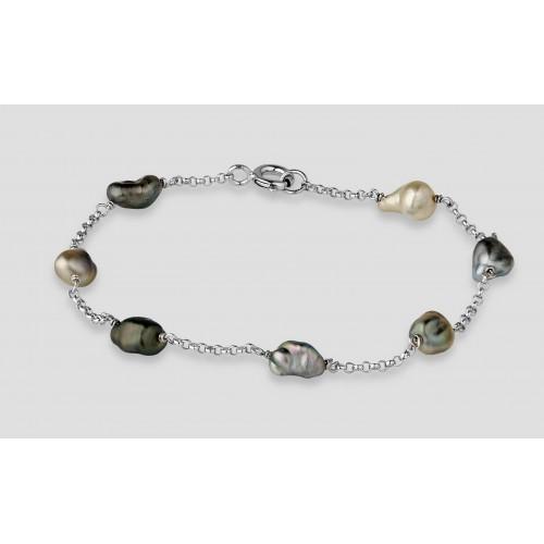 Bracelet argent  7 Keshis...