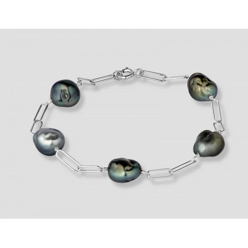 Bracelet argent 5 Keshis de...